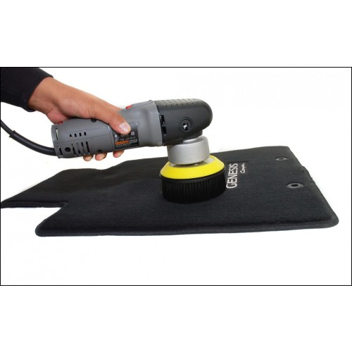 chemical guys shop carpet and upholstery brush with hook-and-loop attachment forr otaryr and orbital 1